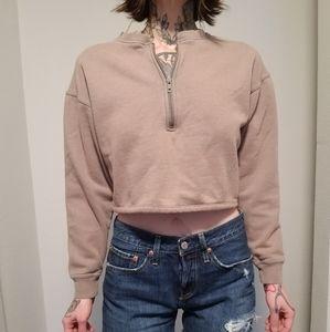 UO Cropped Half Zip Sweatshirt